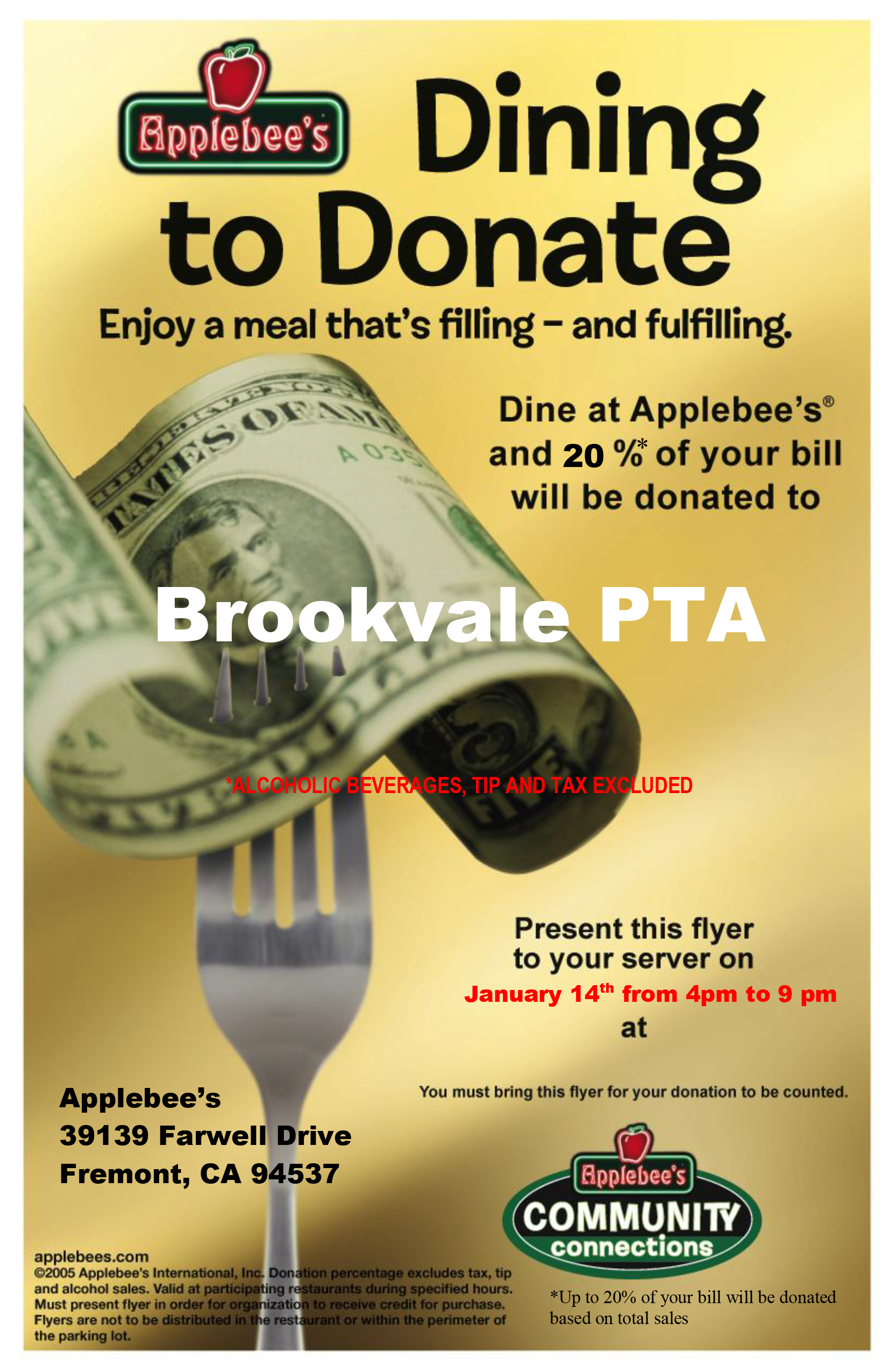 Applebee S Dine Out Fundraiser Brookvale Pta